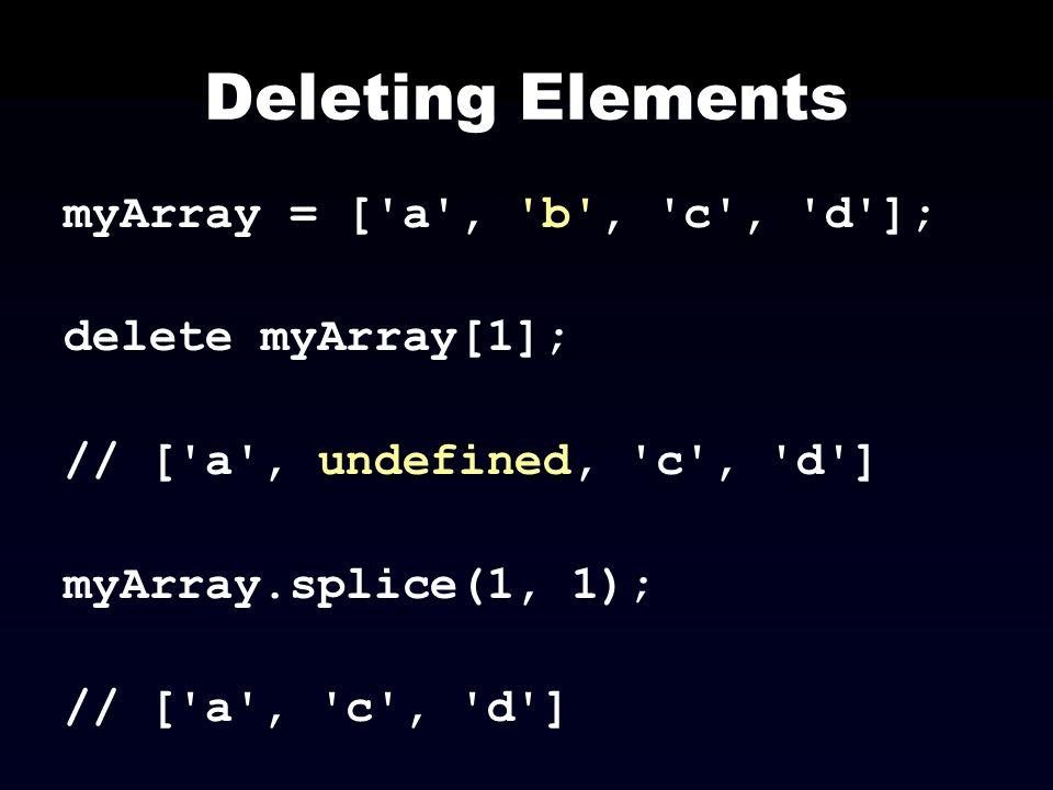 Deleting Elements myArray = [ a , b , c , d ]; delete myArray[1];
